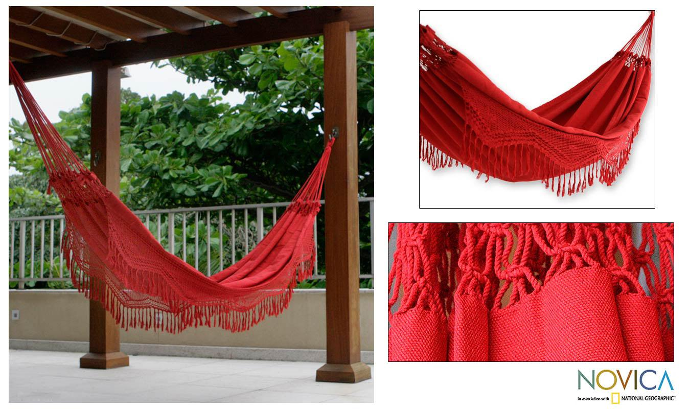 Cotton 'Red Rio Sensation' Hammock (Brazil)