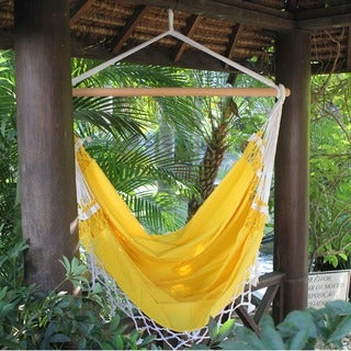 Salvador Sun Outdoor Garden and Patio 100% Cotton Eco Friendly Yellow Hand Crocheted Macrame Edge Swing Chair Hammock (Brazil)