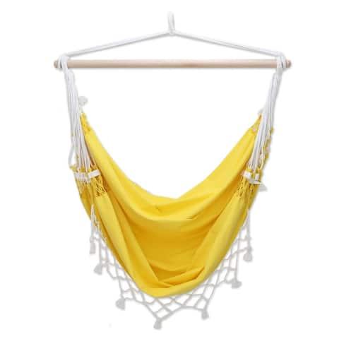 Handmade Salvador Sun 100 Cotton Eco Friendly Yellow Macrame Hammock Swing Chair (Brazil)