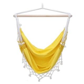 Handmade Salvador Sun Outdoor Garden and Patio 100% Cotton Eco Friendly Yellow Macrame Edge Swing Chair Hammock (Brazil)