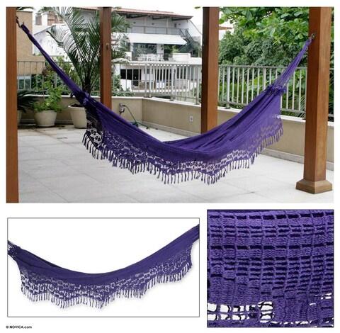 Handmade Maracuya Outdoor Garden and Patio 100-percent Cotton Eco Friendly Purple Crocheted Macrame Edge Double Hammock (Brazil)