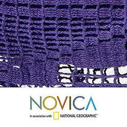 Maracuya Outdoor Garden and Patio 100-percent Cotton Eco Friendly Purple Hand Crocheted Macrame Edge Double Hammock (Brazil) - Thumbnail 2