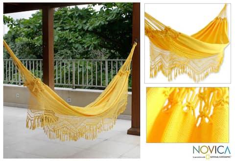Handmade Amazon Sun Cotton Hammock (Brazil)