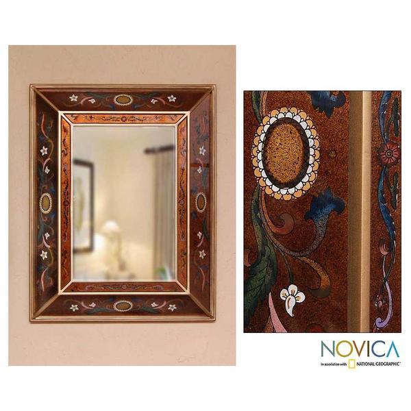 Handmade Glass 'Jewels' Mirror (Peru)