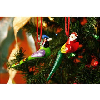 Set of 6 Ceramic 'Forest Birds' Ornaments (Guatemala)