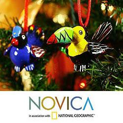 Set of 6 Ceramic 'Tropical Birds' Ornaments (Guatemala)