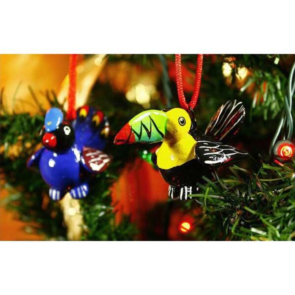 Handmade Set of 6 Ceramic 'Tropical Birds' Ornaments (Guatemala)