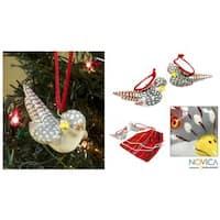 Set of 2 Handmade Ceramic 'Magellan Plover' Ornaments (Guatemala)