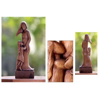 Suar Wood 'Mother and Daughter' Sculpture, Handmade in Indonesia
