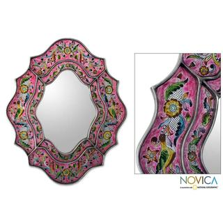 Wild Orchids Handmade Artisan Designer Reverse Painted Glass Flowers Birds Pink Silver Green Blue Accent Wall Mirror (Peru)