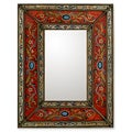 Red Cajamarca Floral Baroque Multicolor Reverse Painted Glass Global Style Decorator Gold Accent Rectangular Wall Mirror (Peru)