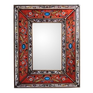 Handmade Red Cajamarca Floral Baroque Multicolor Reverse Painted Glass Gold Accent Rectangular Wall Mirror (Peru)
