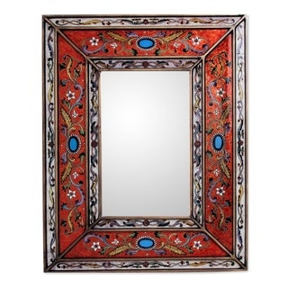 Handmade Red Cajamarca Floral Baroque Multicolor Reverse Painted Glass Gold Accent Rectangular Wall Mirror (Peru) - Orange