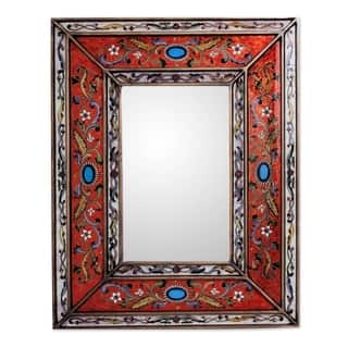 red cajamarca floral baroque multicolor reverse painted glass global style decorator gold accent rectangular wall mirror - White Wood Frame