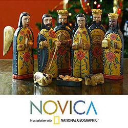Set of 10 Pinewood 'Worship' Nativity Scene , Handmade in Guatemala