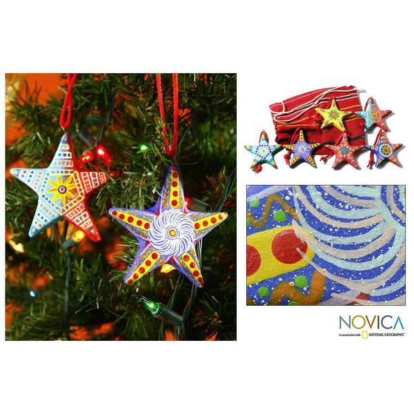 Set of 6 Ceramic 'Christmas Star' Ornaments (Guatemala)