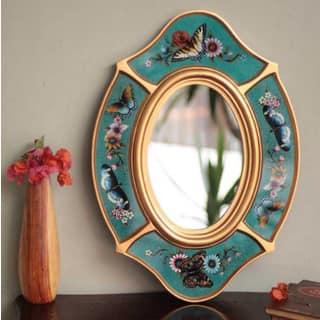 Handmade Glass 'Turquoise Butterfly' Mirror (Peru)|https://ak1.ostkcdn.com/images/products/6341625/Handcrafted-Glass-Turquoise-Butterfly-Mirror-Peru-P13963684.jpg?impolicy=medium