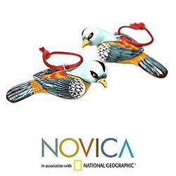 Handmade Set of 2 Ceramic 'Seven Colors' Ornaments (Guatemala)
