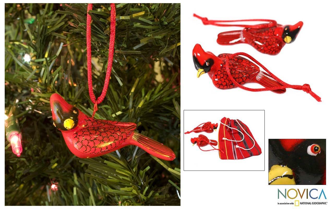 Set of 2 Handmade Ceramic 'Cardinal' Ornaments (Guatemala)