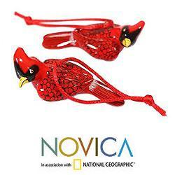 Set of 2 Handmade Ceramic 'Cardinal' Ornaments (Guatemala) - Thumbnail 1