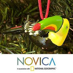Set of 2 Handcrafted Ceramic 'Tropical Toucan' Ornaments (Guatemala)