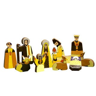 Handmade Set of 11 Pinewood 'Christmas Gift' Nativity Scene (El Salvador)