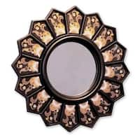 Cedar Wood Glass 'Black Sunflower Fan' Mirror  , Handmade in Peru - Antique Black