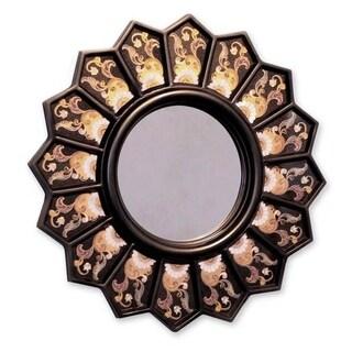 Cedar Wood Glass 'Black Sunflower Fan' Mirror , Handmade in Peru - Black/Pink/Gold