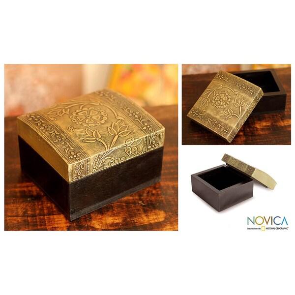 Mango Wood Aluminum 'Mughal Blossoms' Repousse Box (India)