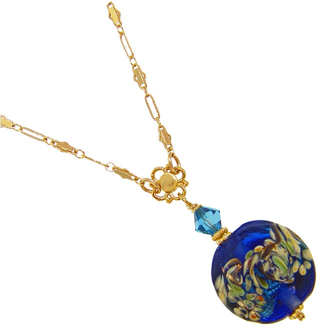 Misha Curtis Ocean Blue Art Glass Necklace with 14k Gold Chain