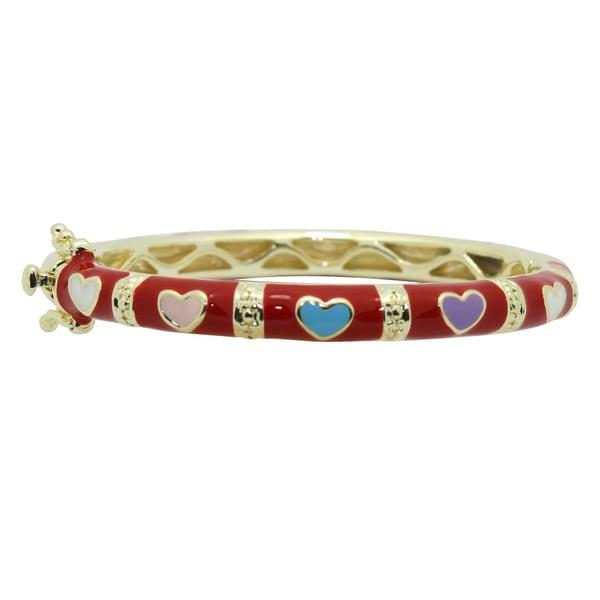 Gioelli Goldtone/Multicolored High-polish Brass/Enamel Baby Bangle Bracelet