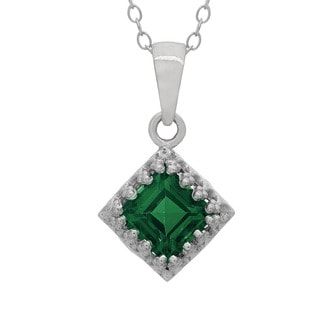 Gioelli Sterling Silver Created Emerald Crown Necklace
