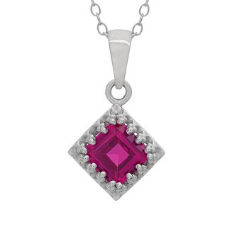 Gioelli Sterling Silver Created Ruby Crown Necklace
