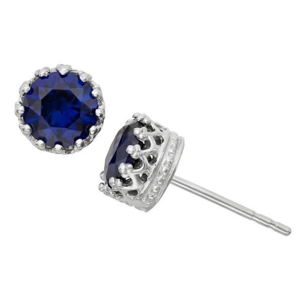 Gioelli Sterling Silver Sapphire Crown Earrings