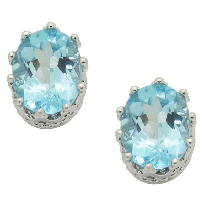 Gioelli Sterling Silver Blue Topaz Oval Crown Earrings