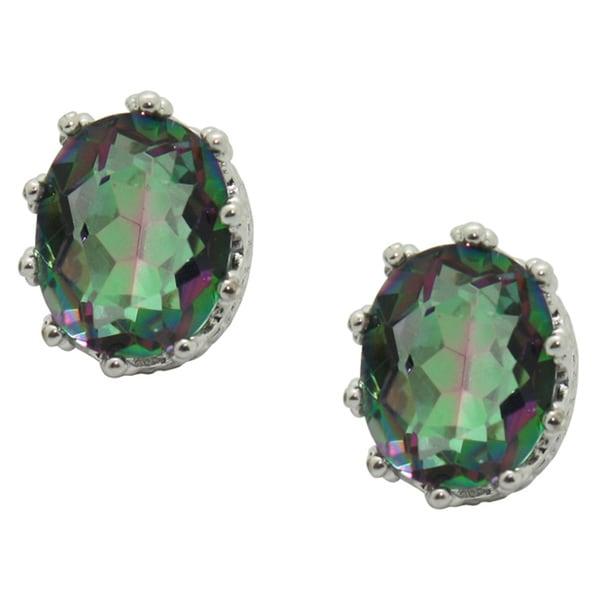 Gioelli Sterling Silver Mystic Green Crown Earrings