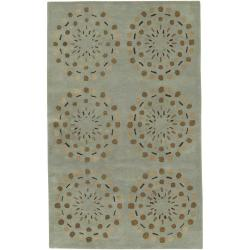 Hand-tufted Contemporary Moss Green Circles Grenoble New Zealand Wool Abstract Rug ( 3'3 x 5'3 )