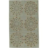Hand-tufted Contemporary Moss Green Circles Grenoble New Zealand Wool Abstract Area Rug - 3'3 x 5'3