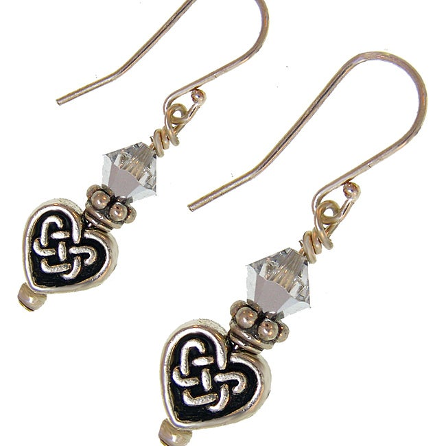 Misha Curtis Celtic Love Knot Earrings with Silver  Crystal