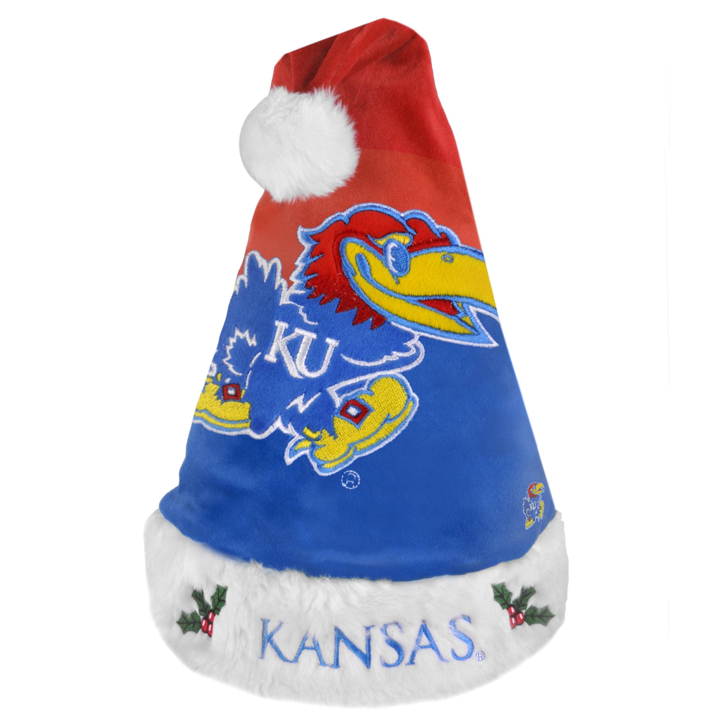 Kansas Jayhawks 2011 Colorblock Runoff Logo Santa Hat