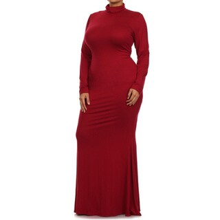 Tabeez Women's Knit Turtleneck Maxi Dress