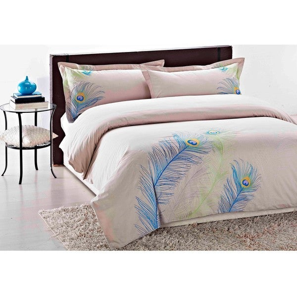 Peacock Embroidered King-size 3-piece Duvet Cover Set