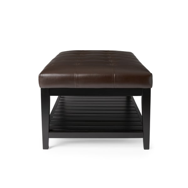 abbyson manchester tufted leather coffee table ottoman - free