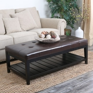 ABBYSON LIVING Manchester Tufted Leather Coffee Table Ottoman