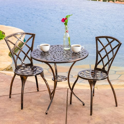 Modern 3-piece Cast Aluminum Bistro Set by Christopher Knight Home