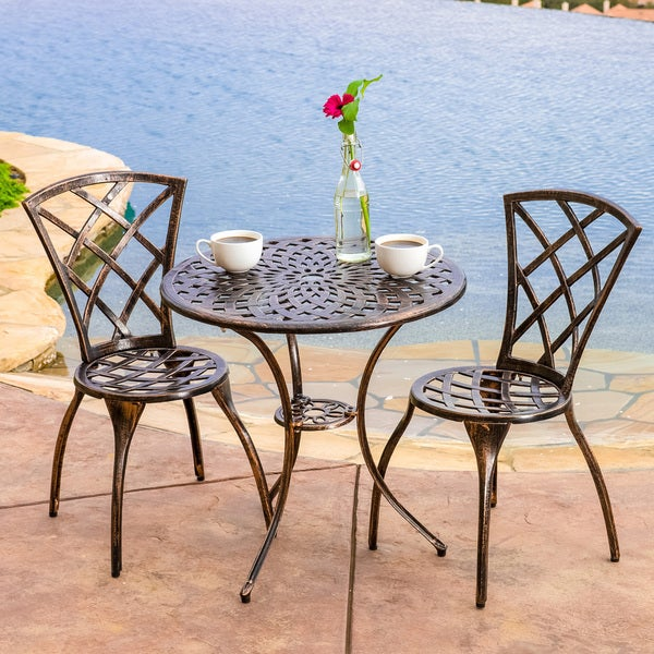 Modern 3-piece Cast Aluminum Bistro Set by Christopher Knight Home. Opens flyout.