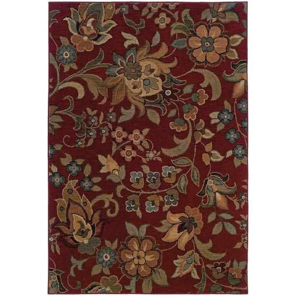 Berkley Red/ Green Floral Area Rug (9'10 x 12'9)