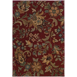 Berkley Red/ Green Floral Area Rug (9'10 x 12'9)