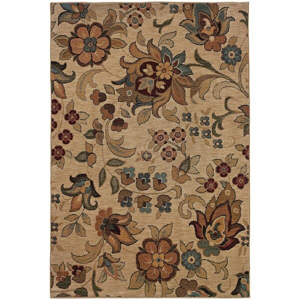 Berkley Beige/ Gold Floral Area Rug - 9'10 x 12'9