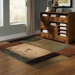 Beige/ Green 10' x 13' Transitional Area Rug
